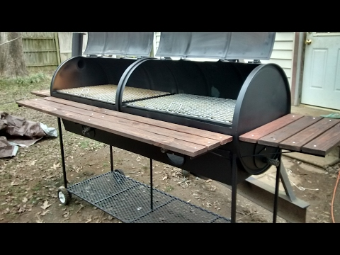 Double barrel bbq pit with steel bottom