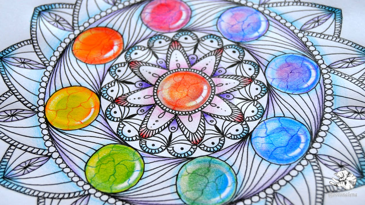 Colored Pencil Drawings Of Marbles : How to draw mandala with rainbow gems colored pencil