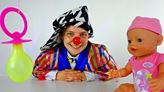 Clown & baby born doll nipple games for kids.