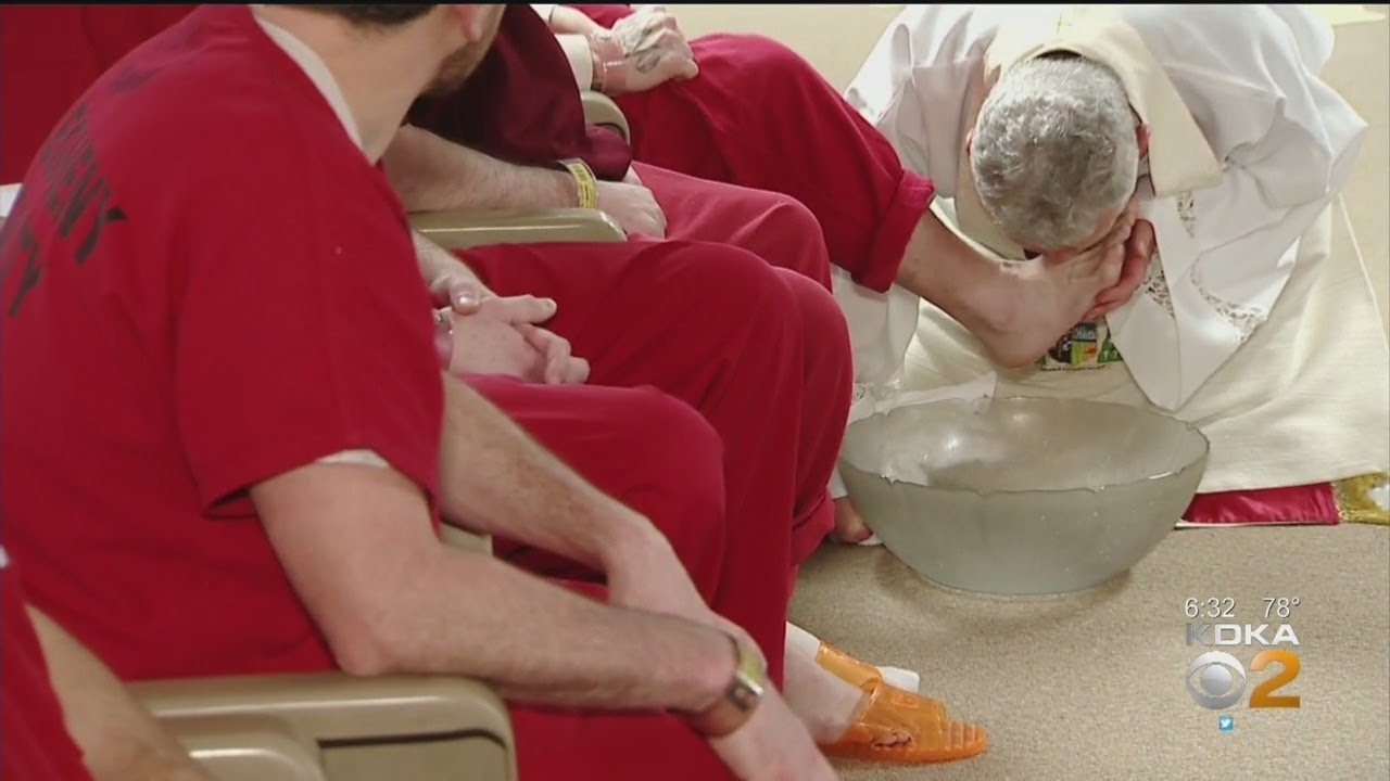 Bishop Zubik Washes Inmates' Feet At Allegheny County Jail's Holy Thursday Mass