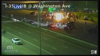 Protesters Set Fire On 35W, Set Up Tent