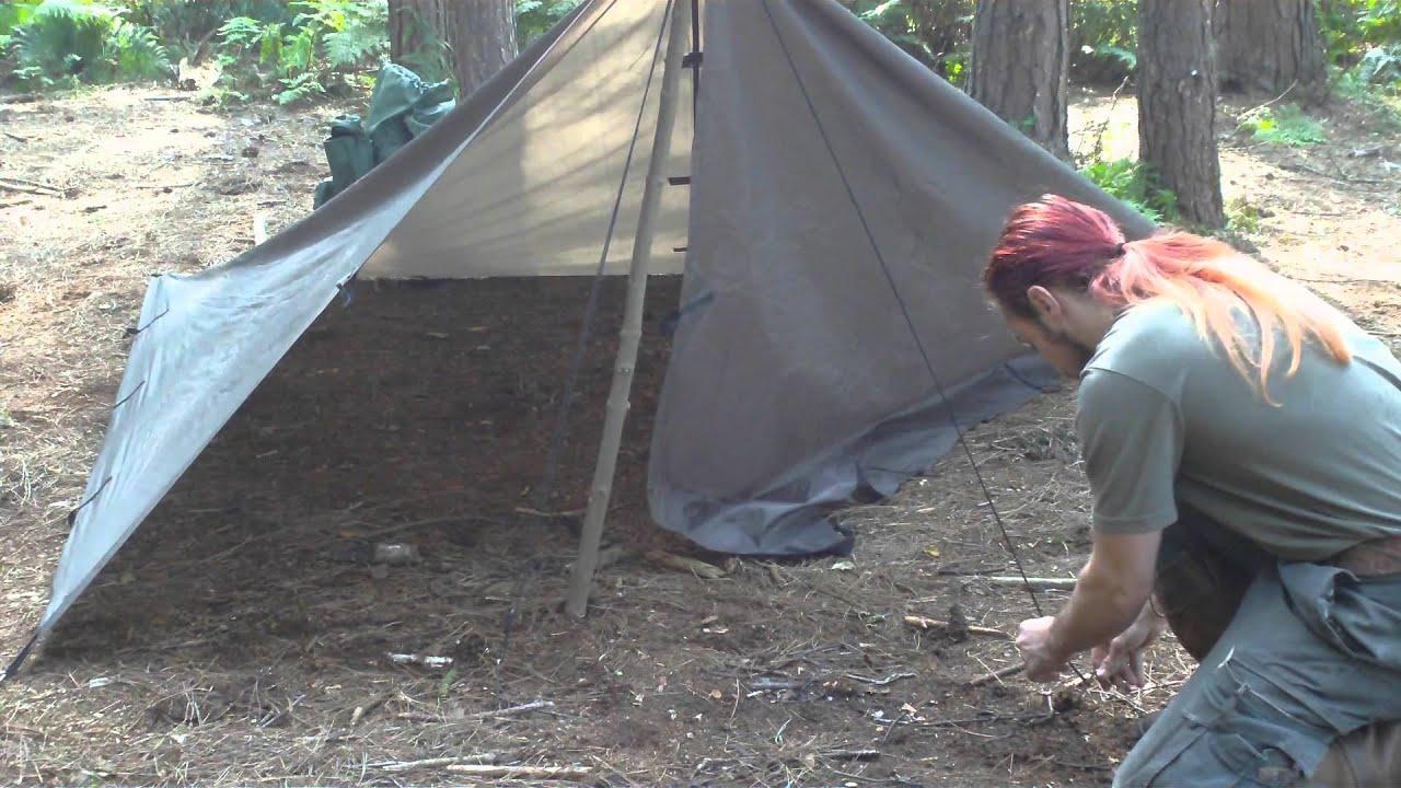 & Tarp shelter #1 Single pole tent Style - YouTube