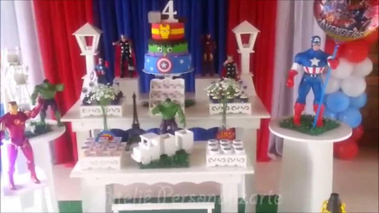 decoracao de festa os vingadores:Decoração de festa infantil Os Vingadores – Provençal – YouTube