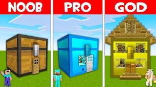 Minecraft NOOB vs PRO vs GOD: CHEST HOUSE BUILD CHALLENGE! NOOB FOUND CHEST BASE! (Animation)