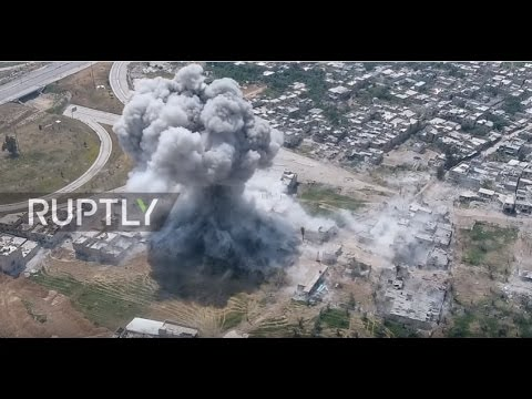 Syria: Drone footage captures strikes on militant positions in Damascus