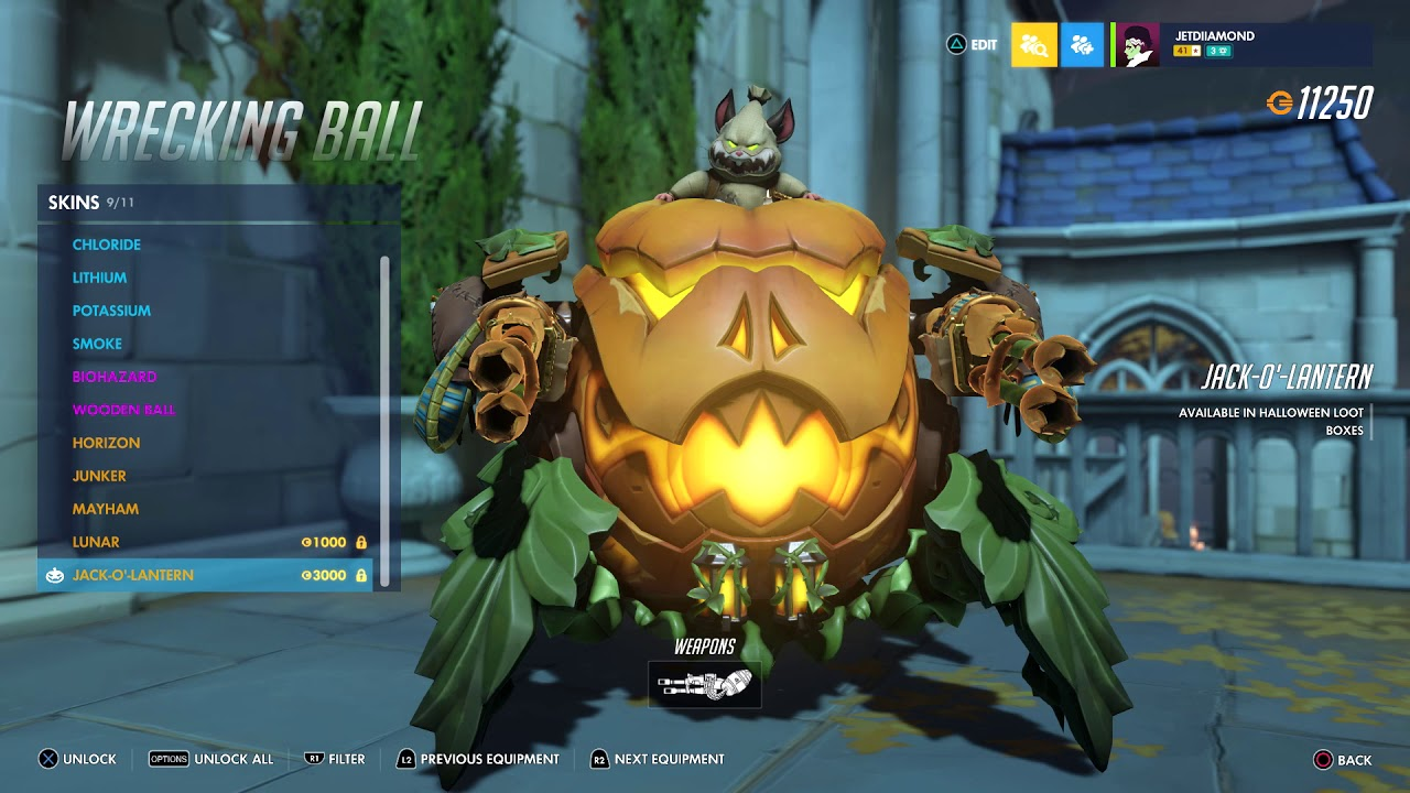 Overwatch Halloween 2020 Hammond Gold guns new Wrecking ball skin/Brigitte new intro golden