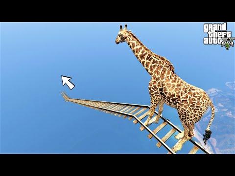 باركور أطول زرافة منحدر سكة القطار 🐸 GTA 5 Trailways Ramp - Giraffe Parkour