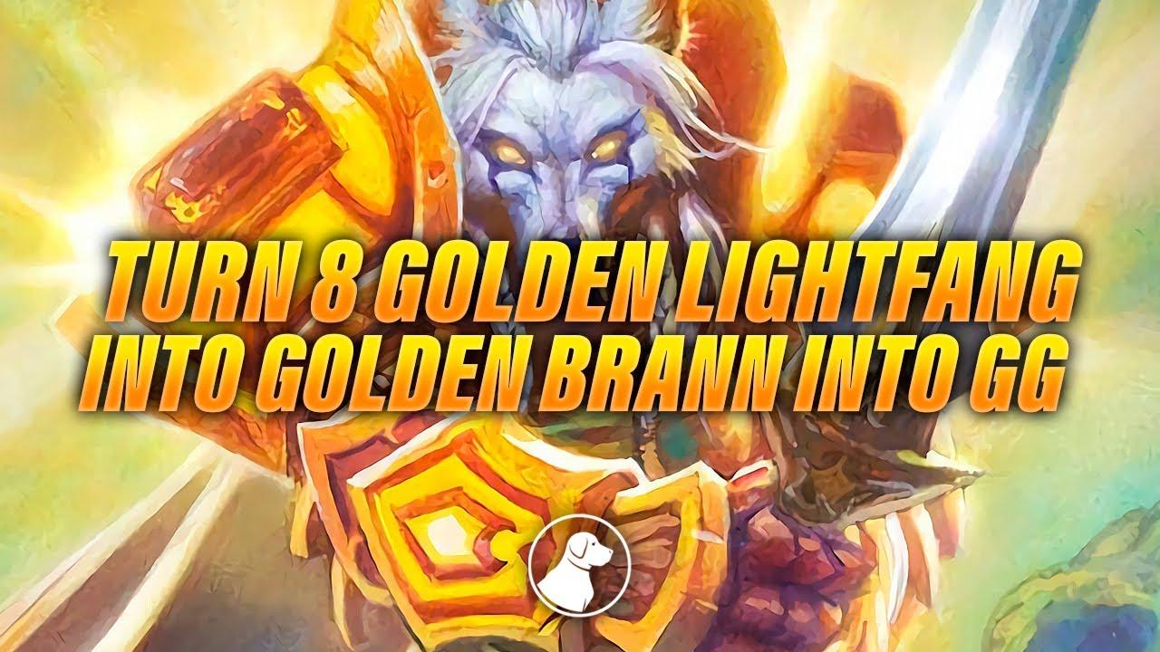Turn 8 Golden Lightfang into Golden Brann into GG | Dogdog Hearthstone Battlegrounds
