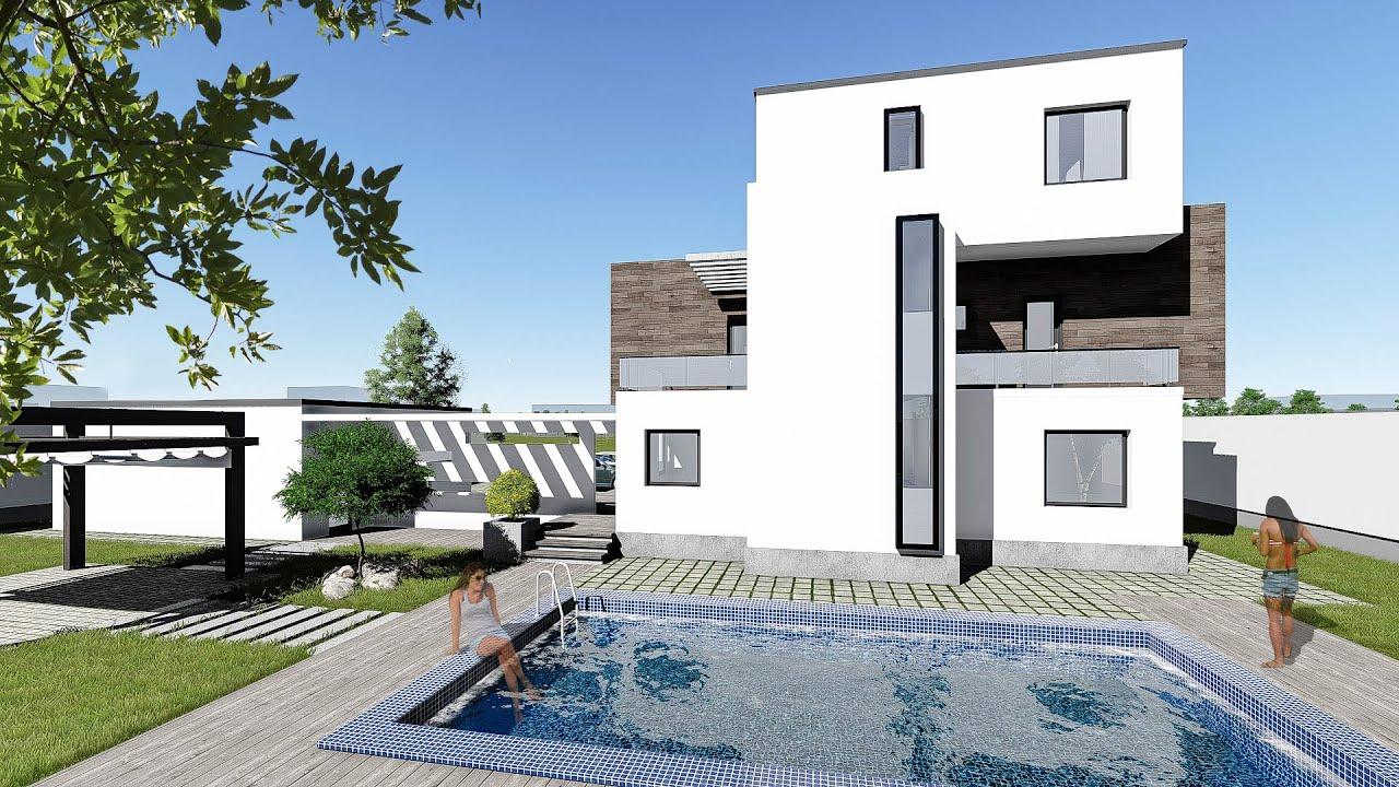 Proiect casa cu piscina corona p 2e 6 camere 272 mp for Piscina in casa