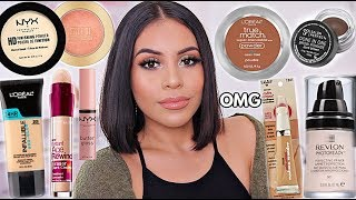 FULL FACE OF MY OLD DRUGSTORE MAKEUP FAVORITES! AFFORDABLE GLAM | JuicyJas