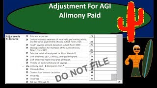Alimony Paid Deduction Adjustment For Adjusted Gross Income (AGI) - Income Tax 2018 2019