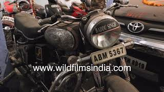 Royal Enfield bikes, Norton, Chetak scooters, modified bikes at private collecting in Hyderabad