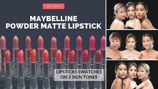 SWATCHES Maybelline THE POWDER MATTES LIPSTICKS Trọn 20 màu trên 3 tông da Gau Zoan