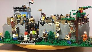 огромная Лего самоделка на тему зомби апокалипсис лагерь выживших