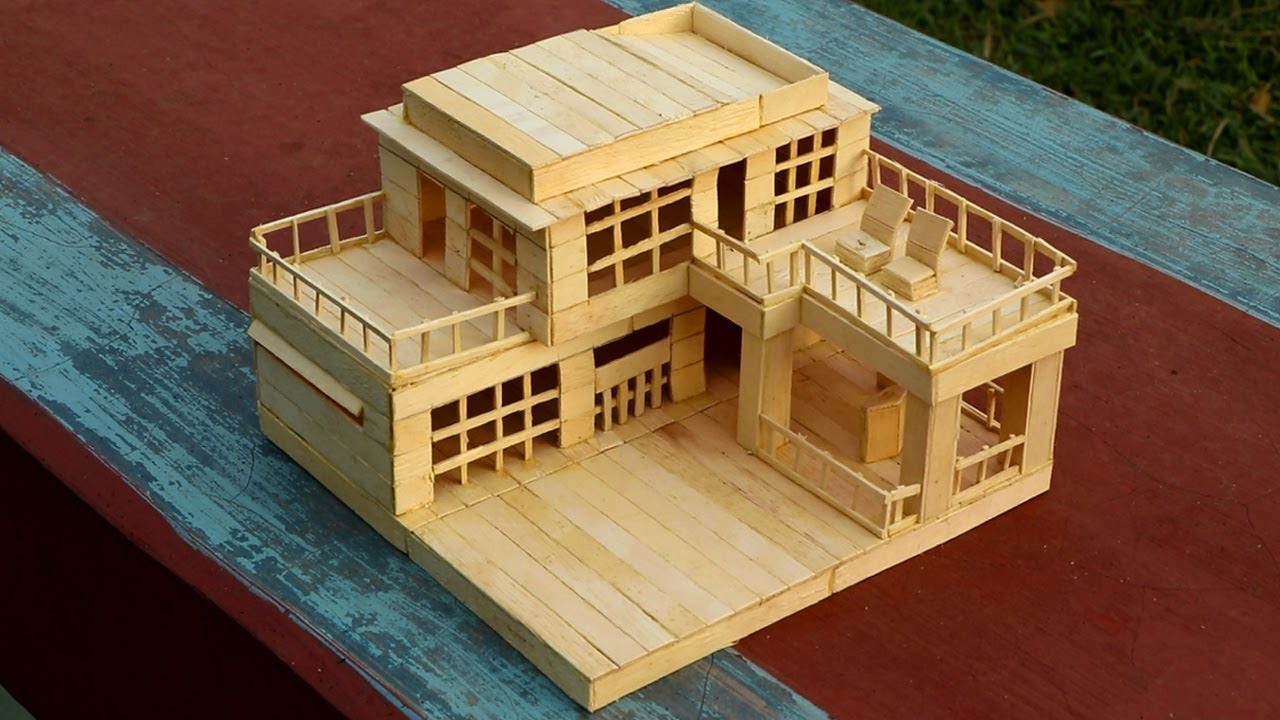 How to make a modern popsicle sticks house youtube for How to build a house step by step