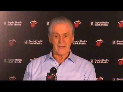 Miami Heat Press Conference - Pat Riley, Dwyane Wade & Chris Bosh
