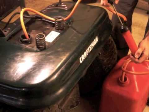 How to drain the gas from the gas tank in your mower - YouTube