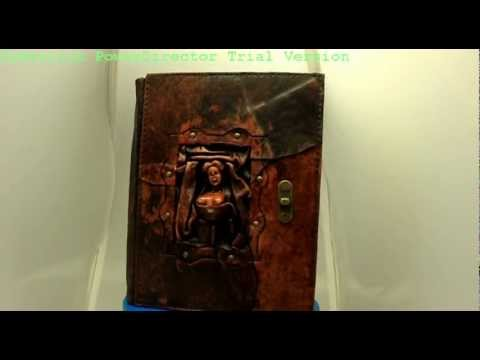 Handmade 3D Woman Top Sculpture on a Brown Leather Bound Journal - Notebook - Diary