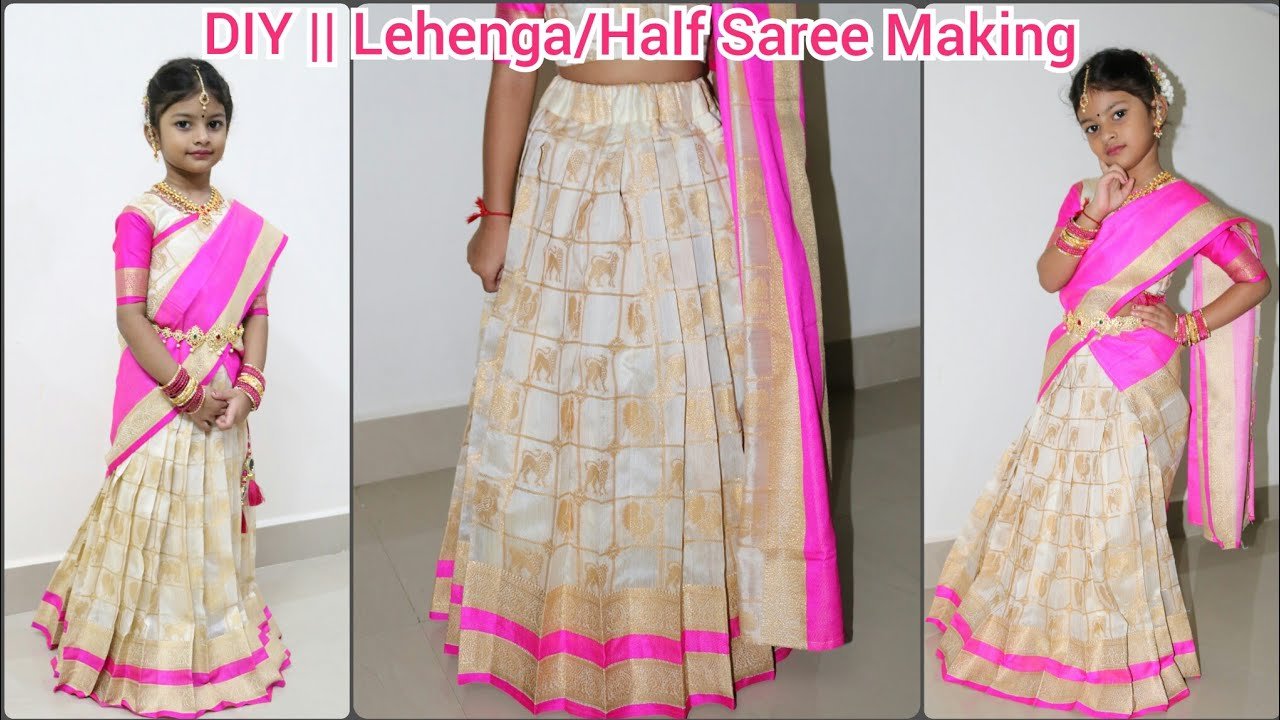 94282689c1 DIY || How to make Lehenga/Half Saree At Home || Long Banarasi Skirt Making