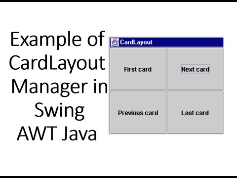 example of cardlayout manager in swing awt java youtube