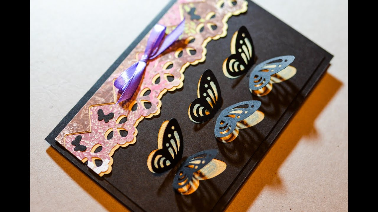 How To Make Decorative Greeting Card With Butterflies Step By