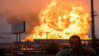 Chinese petrochemical plant massive fireball explosion caught on camera