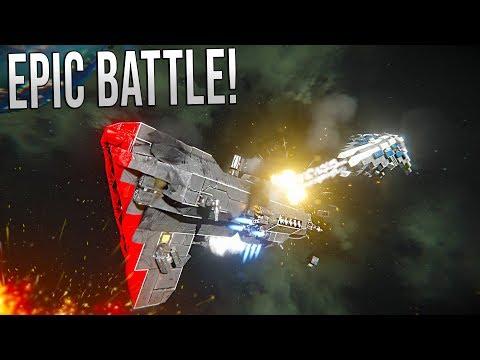MASSIVE SURVIVAL FLEET BATTLE! - Space Engineers Warfare!