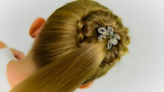 PONYTAIL & BUN with FRENCH BRAID. BACK TO SCHOOL HAIRSTYLE. Easy hairstyle #39
