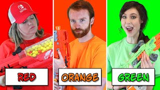 NERF BATTLE Using Only ONE Color with EXTREME Nerf Blasters! (Boys vs Girls Nerf Challenge 2)