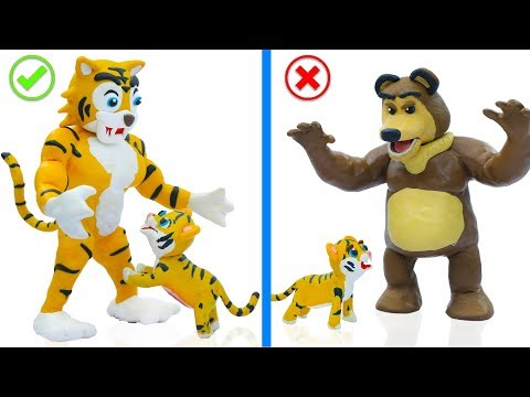 SUPERHERO BABY WILD TIGER AND BEAR 💖 Play Doh Cartoons For Kids