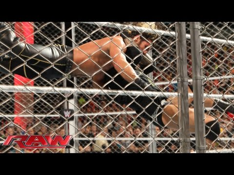 Randy Orton hits Seth Rollins with an RKO: Raw, April 20, 2015
