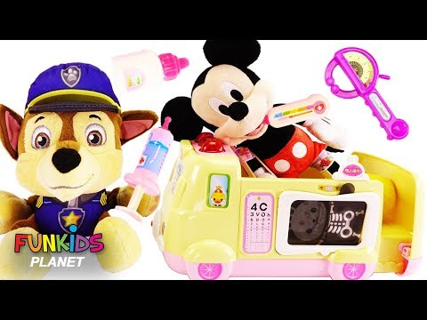 Disney Mickey Mouse Gets a Check Up from Doc McStuffins Toy Hospital Emergency Ambulance Playset!