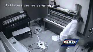 Security video captures suspected thief trashing music studio