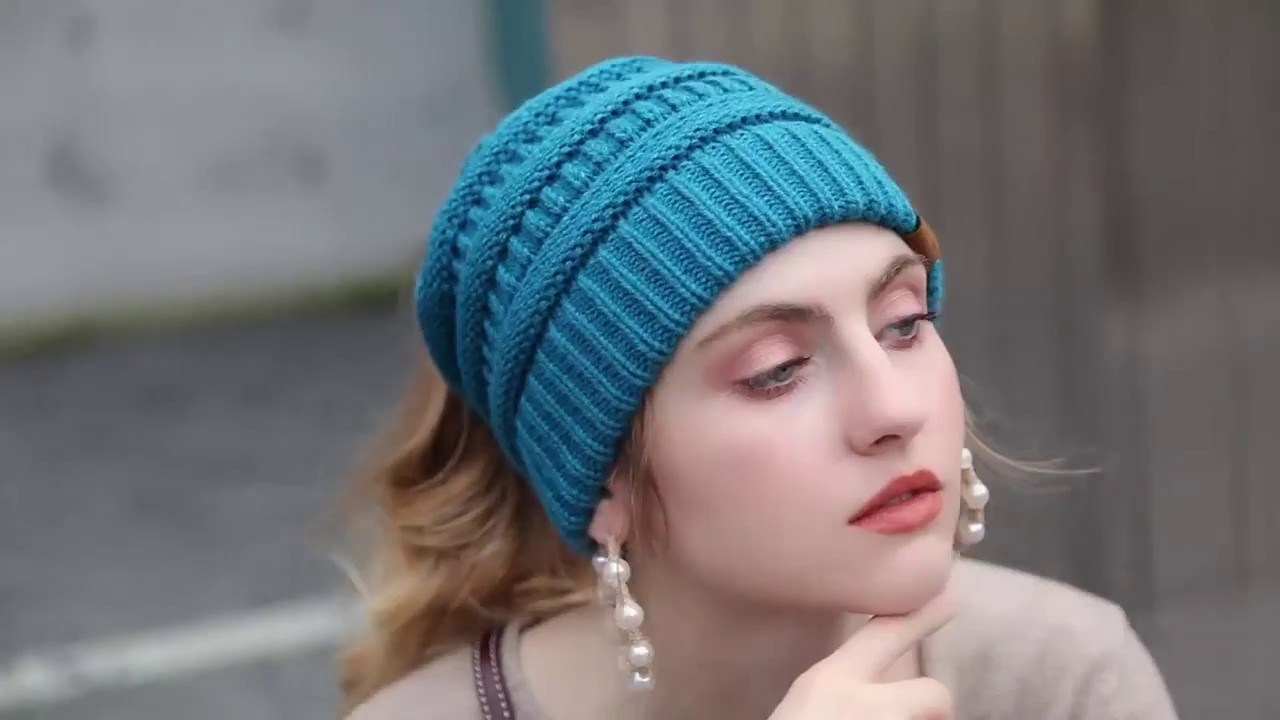e36d9819ac1012 Ponytail Beanie Soft Knit - YouTube