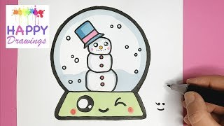 How to Draw a Super Cute SNOW GLOBE with a Snowman Inside  - Easy Drawing Tutorial