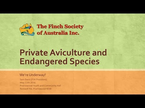 Private Aviculture and Endangered Species - We're Underway!