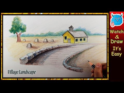 How to Draw Landscape (Easy Village Scenery for Kids)