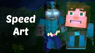 speed art jesse and herobrine minecraft story mode speed art