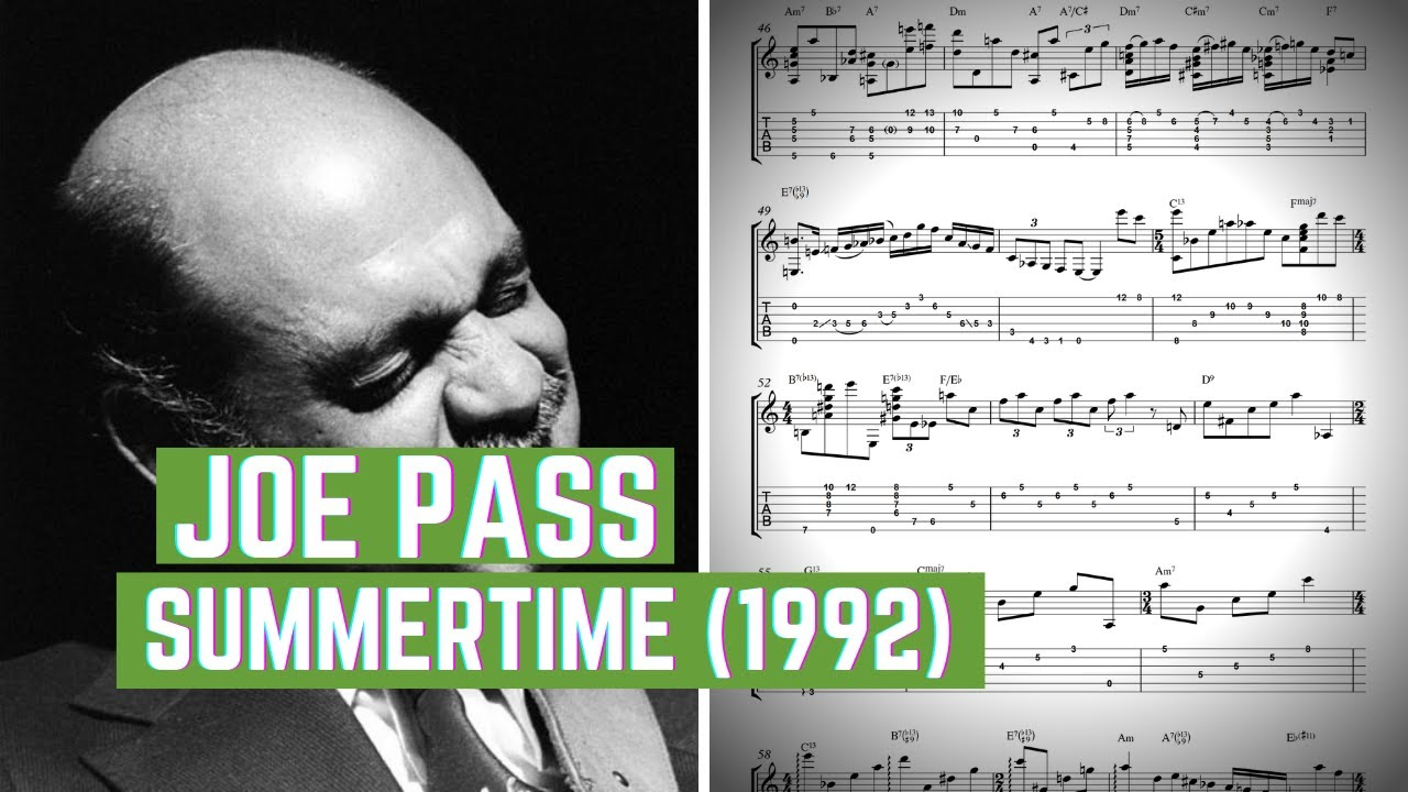 Joe Pass Summertime (1992) Solo Jazz Guitar Transcription