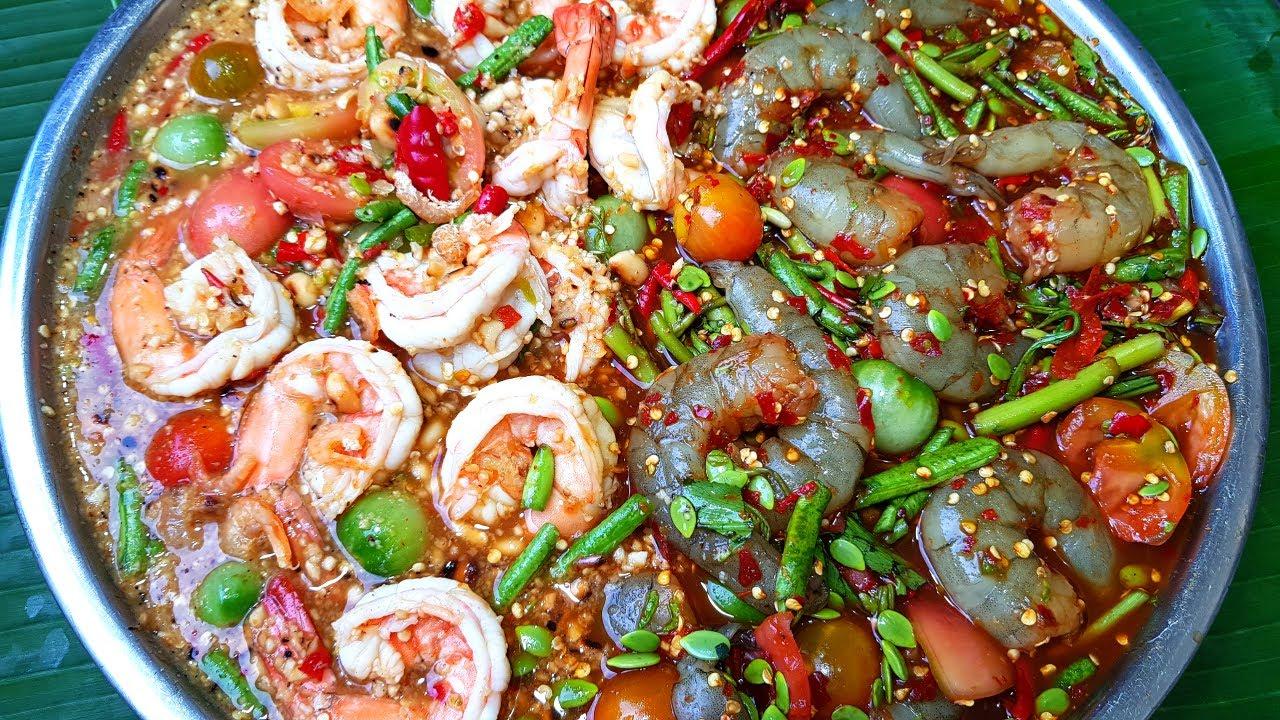 กับข้าวกับปลาโอ 784 ตำเกาเหลากุ้งสองน้ำ ตำไทยจัดจ้าน ตำลาวแซ่บคัก รวมกันในถาดเดียว Spicy salad shimp