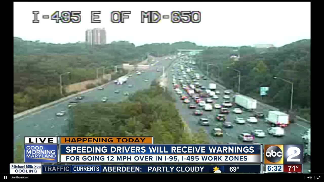 Warning period starts for speed cameras on I-95 & I-495