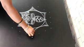 Deewali special rangoli..creative deepam rangoli..simple rangoli..7 to 4 dots..deepavali kolam