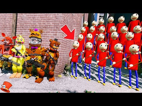 CAN THE ANIMATRONICS DEFEAT THE EVIL PLAYTIME BALDI ARMY? (GTA 5 Mods FNAF Kids RedHatter) thumbnail