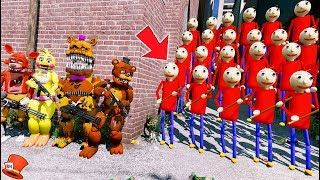 CAN THE ANIMATRONICS DEFEAT THE EVIL PLAYTIME BALDI ARMY? (GTA 5 Mods FNAF Kids RedHatter)