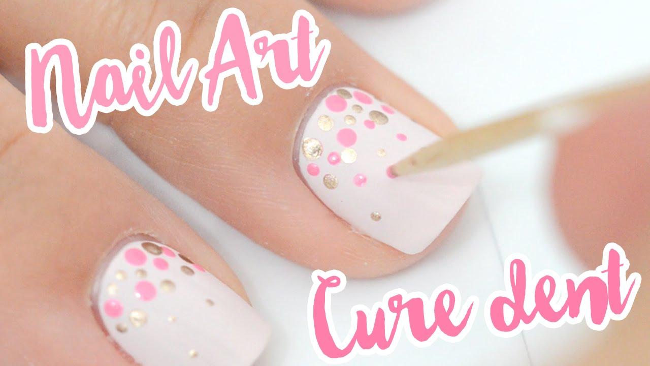 Nail Art Facile Et Inratable Au Cure Dent Ideal Pour Les Ongles Courts Youtube