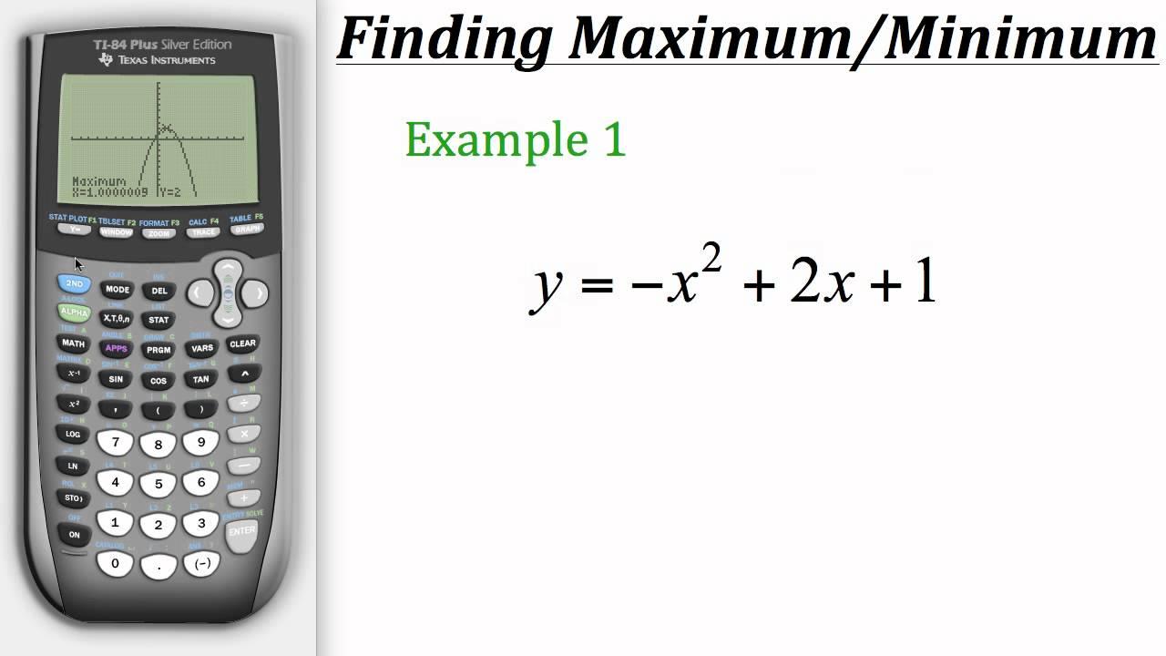 Ti calculator tutorial finding maximum minimum values for Ti 85 table of values