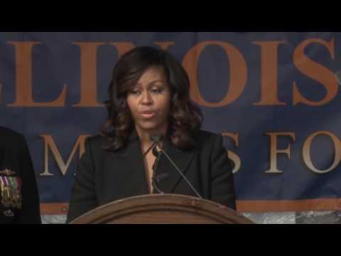 Michelle Obama Helps Commission High Tech Navy Sub USS Illinois