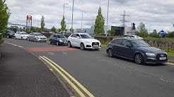 Long Lines of Cars Seen as Costa Coffee Reopens in Renfrew, Scotland