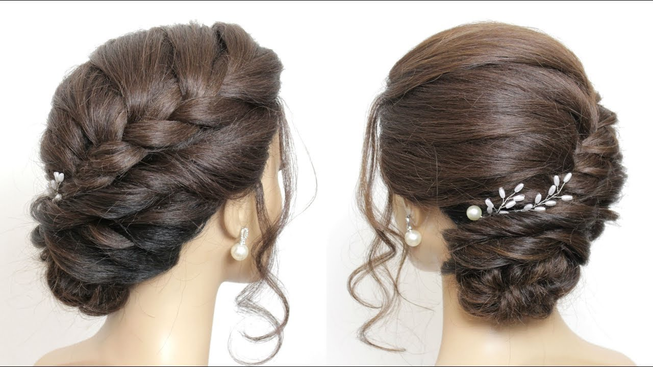 braided side bun updo. hairstyles for long hair