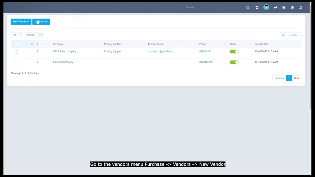 Perfex CRM Modules - Purchase Management - Vendor Management Null